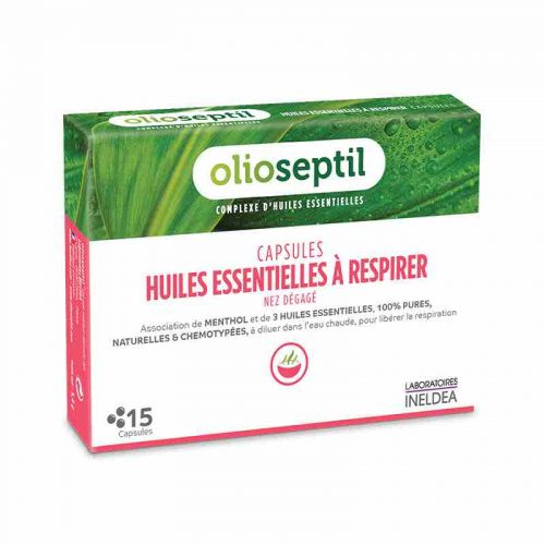 CAPSULES HUILES ESSENTIELLES A RESPIRER capsules with essential oils for inhalation help clear the nose and sinuses.